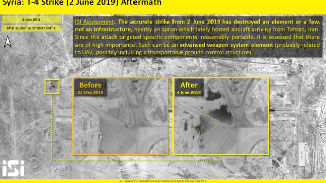 تصویر: تصاویر ماهواره ای که ایماژسات بین المللی منتشر کرد، پسامد حمله هوایی منتسب به اسرائیل که پایگاه هوایی تی۴ سوریه در نزدیکی پالمیر هدف آن بوده را نشان میدهد، ۲ ژوئن ۲۰۱۹. (ImageSat International)