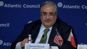 تصویر: «خالد بن احمد آل خلیفه»، وزیر خارجه بحرین، در شورای آتلانتیک در شهر واشنگتن، ۱۷ ژوئیه، ۲۰۱۹.  (YouTube screenshot)