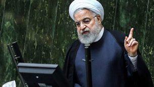تصویر: حسن روحانی رئیس جمهور ایران حین سخنرانی در مجلس، در پایتخت ایران، تهران، ۳ سپتامبر ۲۰۱۹.  (ATTA KENARE / AFP)