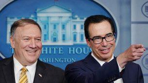 تصویر: «مایک پمپئو» وزیر خارجه ایالات متحده و «استیون منوهین» وزیر خزانه داری حین گزارش به رسانه ها، ۱۰ سپتامبر ۲۰۱۹، کاخ سفید شهر واشنگتن. (MANDEL NGAN / AFP)
