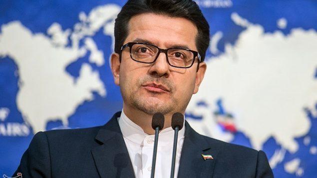 تصویر: عباس موسوی، سخنگوی وزارت خارجه ایران، در کنفرانس مطبوعاتی در تهران، پایتخت ایران، ۲۸ مه ۲۰۱۹. (Atta Kenare/AFP)