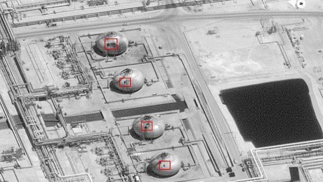 تصویر: این عکس روز یکشنبه ۱۵ سپتامبر ۲۰۱۹ از سوی دولت ایالات متحده و «دیجیتال گلوب» ارائه و از سوی منبع عکس حاشیه-نویسی شده، و آسیبی که به زیرساختهای پالایشگاه بقیق در «بوکیوم»، عربستان سعودی وارد آمده را نشان میدهد. حمله پهباد روز شنبه به تاسیسات «بقیق» عربستان و میدان نفتی «خریص» منجر به اختلالی در ابعاد حدود ۵.۷ میلیون بشکه تولید روزانه نفت خام کشور پادشاهی شد، که معادل ۵٪ مصرف روزانه جهان است. (U.S. government/Digital Globe via AP)