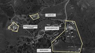 تصویر: تصویر ماهواره ای از آنچه نیروی دفاعی مدعی است تاسیسات تولید و تبدیل موشکهای نقطه-زن در دشت بقاع لبنان است. (Israel Defense Forces)