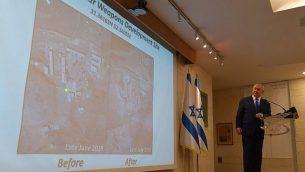 تصویر: نخست وزیر نتانیاهو، حین گفتگو با خبرنگاران در وزارت خارجه در اورشلیم، پیرامون آنچه وی تاسیسات سرّی مینامد که ایران آنجا آزمایشهای مربوط به تولید تسلیحات اتمی را انجام میداده است، ۹ سپتامبر ۲۰۱۹.  (GPO)