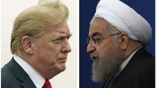 تصویر: دونالد ترامپ رئیس جمهور ایالات متحده، چپ، ۲۲ ژوئیه ۲۰۱۸، و حسن روحانی رئیس جهمور ایران، ۶ فوریه ۲۰۱۸. (AP Photo)