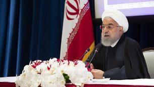 تصویر: حسن روحانی رئیس جمهور حین سخنرانی در کنفرانس خبری، نیویورک، ۲۶ سپتامبر ۲۰۱۹.  (Mary Altaffer/AP)