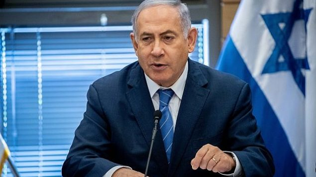 تصویر: بنیامین نتانیاهو نخست وزیر در ریاست جلسه حزبی خود در کنست، ۲۳ سپتامبر ۲۰۱۹.  (Yonatan Sindel/Flash90)