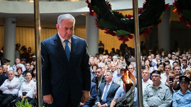 تصویر: بنیامین نتانیاهو نخست وزیر در مراسم یادبود سربازان جانباختهٔ جنگ یوم کیپور در گورستان تپه هرتصل، اورشلیم، ۱۰ اکتبر ۲۰۱۹. (Flash90)