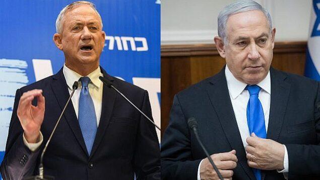 تصویر: بنی گانتز از حزب «آبی و سفید»، چپ، بنیامین نتانیاهو نخست وزیر، راست. (Flash90)