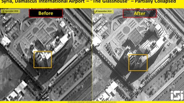 تصویر: تصویر ماهواره ای تخریب ناشی از حمله هوایی اسرائيل به تاسیسات تحت کنترل ایران در فرودگاه المزه،۲۰ نوامبر ۲۰۱۹ را نشان میدهد. (ImageSat International)