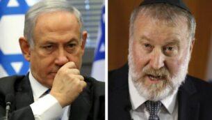 تصویر: بنیامین نتانیاهو نخست وزیر در کنست، ۲۰ نوامبر ۲۰۱۹، چپ، آویخای مندلبیت دادستان کل، در گفتگو خطاب به مطبوعات، ۲۱ نوامبر ۲۰۱۹. (Gali Tibon, Menahem Kahana / AFP)