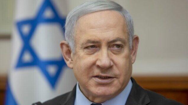 تصویر: بنیامین نتانیاهو نخست وزیر در ریاست جلسه هفتگی کابینه در مقر نخست وزیری، اورشلیم، ۲۴ نوامبر، ۲۰۱۹. (Sebastian Scheiner/Pool/AFP)