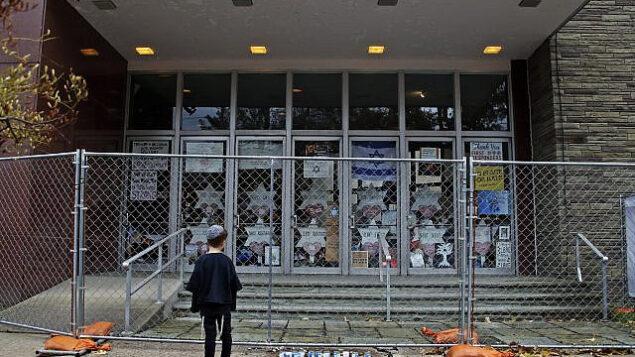 تصویر:  ۲۷ اکتبر ۲۰۱۹، در اولین سالگرد تیراندازی در کنیسا که طی آن ۱۱ تن از عبادت کنندگان کشته شدند، پسر کوچکی به ورودی حصارکشی شده کنیسای «درخت زندگی» در پیتزبورگ نگاه میکند. (AP Photo/Gene J. Puskar)