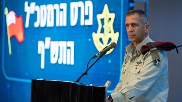 تصویر: رئیس ستاد نیروهای دفاعی اسرائیل، آویو کوخاوی، حین سخنرانی در مراسم اهدای جوایز در پایگاه نظامی شمال تل آویو، ۱۶ دسامبر ۲۰۱۹. (Israel Defense Forces)
