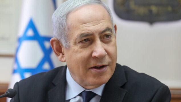 تصویر: بنیامین نتانیاهو نخست وزیر در ریاست جلسه هفتگی کابینه در مقر نخست وزیر در اورشلیم، ۲۲ دسامبر ۲۰۱۹. (Marc Israel Sellem/POOL)
