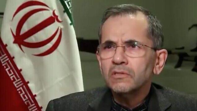 تصویر عکس ویدئوی از «مجید تخت روانچی» سفیر ایران در سازمان ملل. (Twitter)