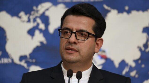تصویر: در عکسی از ۲۸ مه ۲۰۱۹، عباس موسوی، سخنگوی وزارت خارجه ایران حین گفتگو کنفرانس خبری در تهران، ایران. (AP Photo/Vahid Salemi)