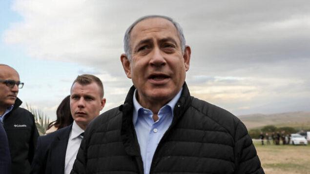 تصویر: بنیامین نتانیاهو نخست وزیر در مراسم درختکاری در جشنهای یهودی «تی بیشوات» در شهرک «موا-اوت یریخو»ی دشت اردن، کرانه باختری، ۱۰ فوریه ۲۰۲۰. (Flash90)