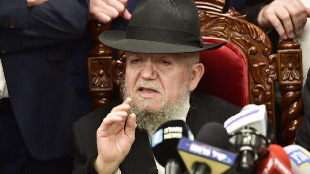 """Rabbi Meir Mazuz speaks at a press conference of Leader of the """"Yachad"""" political party Eli Yishai, in Bnei Brak, March 27, 2019. Photo by Yehuda Haim/Flash90 *** Local Caption *** îñéáú òéúåðàéí îãáø áçéøåú øãéå îàéø îæåæ ôåøèøè éçã"""