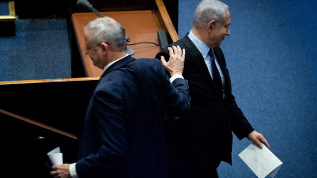Israeli Prime Minister Benjamin Netanyahu and Blue and White party leader Benny Gantz at a memorial ceremony marking 24 years since the assassination of former israeli Prime Minister Yitzhak Rabin, in the Israeli parliament on November 10, 2019. Photo by Yonatan Sindel/Flash90 *** Local Caption *** ëðñú áéáé øàù äîîùìä ðúðéäå îìéàä øáéï áðé âðõ