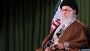 In this picture released by an official website of the office of the Iranian supreme leader, Supreme Leader Ayatollah Ali Khamenei addresses the nation in a televised speech in Tehran, Iran, Thursday, April 9, 2020. Iran's supreme leader suggested Thursday that mass gatherings in the Islamic Republic may be barred through the holy Muslim fasting month Ramadan amid the coronavirus pandemic. (Office of the Iranian Supreme Leader via AP)
