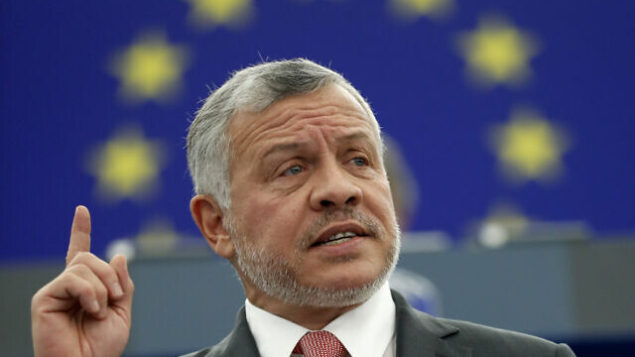 Jordan's King Abdullah delivers his speech at the European parliament Wednesday, Jan.15, 2020 in Strasbourg, eastern France. (AP Photo/Jean-Francois Badias)
