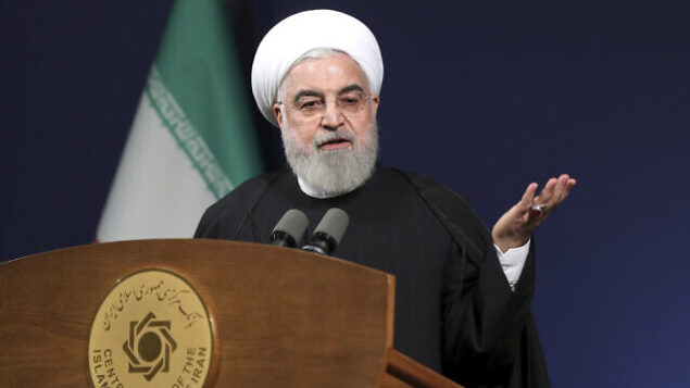 """In this photo released by the official website of the office of the Iranian Presidency, President Hassan Rouhani speeches before the heads of banks, in Tehran, Iran, Thursday, Jan. 16, 2020. Iran's president said Thursday that there is """"no limit"""" to the country's enrichment of uranium following its decision to abandon its commitments under the 2015 nuclear deal in response to the killing of its top general in a U.S. airstrike. (Office of the Iranian Presidency via AP)"""