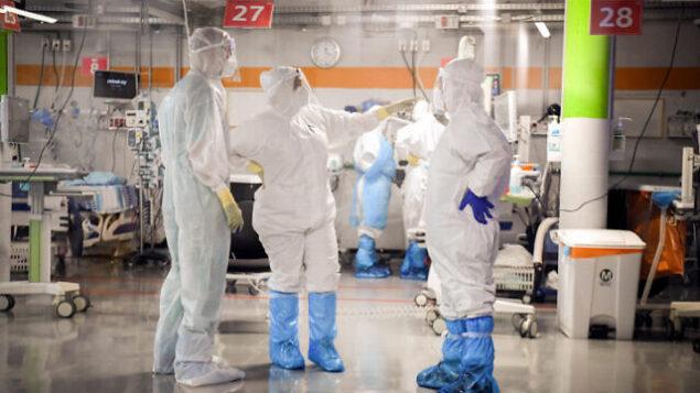 Sheba Medical Center team at the Coronavirus isolation ward of Sheba Medical Center unit, in Ramat Gan, June 30, 2020. Photo by Yossi Zeliger/Flash90 *** Local Caption *** ????? ???? ??? ?? ???? ????? ?????? ????? ???? ?????