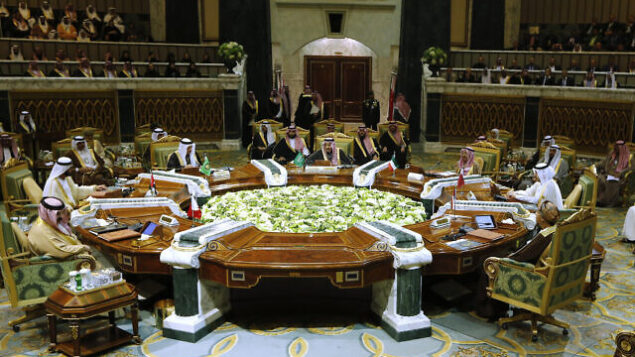 Saudi King Salman, center, chairs the 40th Gulf Cooperation Council (GCC) Summit in Riyadh, Saudi Arabia, Tuesday, Dec. 10, 2019. (AP Photo/Amr Nabil)