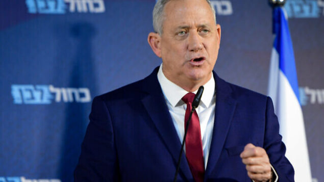 Head of Blue and White party Benny Gantz holds a press conference at Kfar Maccabia on March 1, 2020. Photo by Avshalom Sassoni /Flash90 *** Local Caption *** כחול לבן בני גנץ מסיבת עיתונאים תקשורת מנהיג