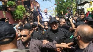 Hamas' political bureau chief Ismail Haniyeh greets supporters during a visit to the Ain el-Helweh camp, Lebanon's largest Palestinian refugee camp, near the southern coastal city of Sidon on September 6, 2020. (Photo by Mahmoud ZAYYAT / AFP)