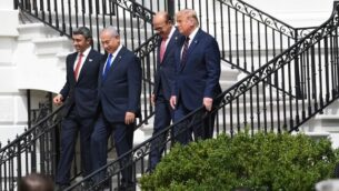 (L-R) UAE Foreign Minister Abdullah bin Zayed Al-Nahyan, Israeli Prime Minister Benjamin Netanyahu, Bahrain Foreign Minister Abdullatif al-Zayani and US President Donald Trump, make their way to the South Lawn of the White House for the signing of the Abraham Accords where the countries of Bahrain and the United Arab Emirates recognize Israel, in Washington, DC, September 15, 2020. - Israeli Prime Minister Benjamin Netanyahu and the foreign ministers of Bahrain and the United Arab Emirates arrived September 15, 2020 at the White House to sign historic accords normalizing ties between the Jewish and Arab states. (Photo by SAUL LOEB / AFP)