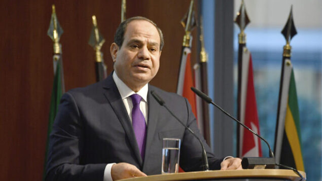 """Egypt's President Abdel Fattah al-Sisi speaks at the """"G20 Investment Summit - German Business and the CwA Countries 2019"""" on the sidelines of a Compact with Africa (CwA) in Berlin, Germany on Nov. 19, 2019. (John MacDougall/Pool via AP)"""