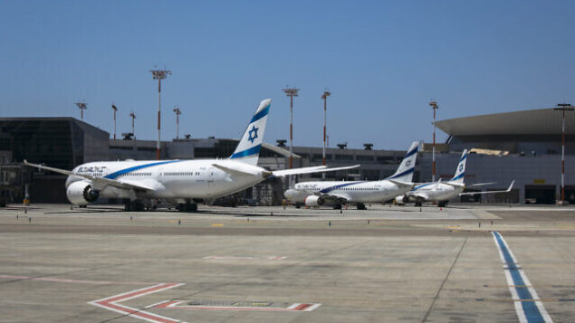 """Parked airplanes at the ben Gurion International Airport. Most airplanes are at a standstill due to the Coronavirus pandemic, which has closed off air travel significantly. August 08, 2020. Photo by Olivier Fitoussi/FLASH90 *** Local Caption *** נתב""""ג נתבג קורונה בן גוריון אל על"""
