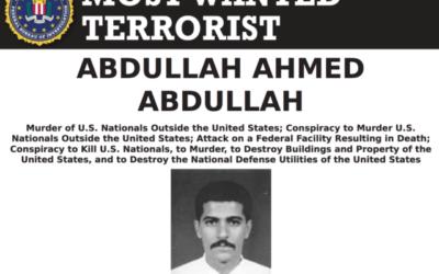 پوستر اف.بی.آی. قرار تحت تعقیب عبدالله احمد عبدالله را اعلان میکند. (FBI)