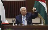 تصویر: محمود عباس، رئیس تشکیلات خودگردان فلسطینیان حین ریاست جلسه ای از حلقه رهبری در مقر خود در رام الله، کرانه باختری، ۱۹ مه ۲۰۲۰. (Alaa Badarneh/Pool via AP)