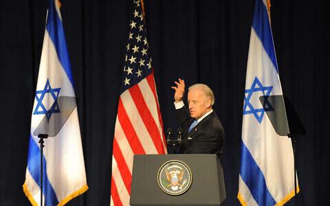تصویر: جو بایدن، معاونت ریاست جمهوری ایالات متحده حین سخنرانی در دانشگاه تل آویو، ۱۱ مارس ۲۰۱۰.  (Gili Yaari / Flash 90)