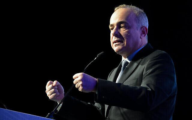 تصویر: یوآل اشتاینیتز وزیر انرژی حین سخنرانی در کنفرانسی در تل آویو، ۲۷ فوریه ۲۰۱۹. (Flash90)