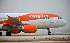 تصویر: یک پرواز EasyJet حین بلند شدن از فرودگاه بین المللی بن گوریون، ۲۴ مارس ۲۰۱۸. (Moshe Shai/FLASH90)