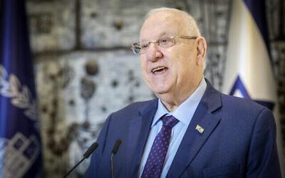 تصویر: پرزیدنت رئوبن ریولین حین گفتگو در کنفرانس مطبوعاتی در اقامتگاه ریاست جمهوری در اورشلیم، ۱۶ فوریه ۲۰۲۰. (Flash90)