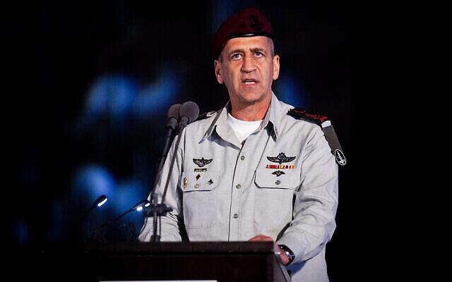 تصویر: آویو کوخاوی رئیس ستاد نیروهای دفاعی اسرائیل حین سخنرانی در مراسم نیروی دریایی اسرائیل در حیفا، ۴ مارس ۲۰۲۰. (Flash90)