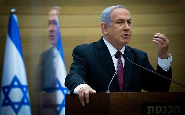 تصویر: بنیامین نتانیاهو نخست وزیر حین گفتگو در کنفرانس مطبوعاتی در کنست، اورشلیم، ۲ دسامبر ۲۰۲۰. (Yonatan Sindel/Flash90)