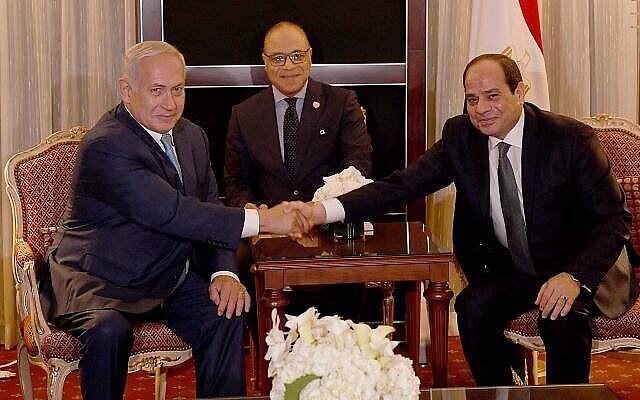 تصویر: بنیامین نتانیاهو نخست وزیر در ملاقات با عبدالفتاح السیسی رئیس جمهوری مصر در حاشیه مجمع عمومی سازمان ملل در نیویورک، ۲۷ سپتامبر ۲۰۱۸. (Avi Ohayon / PMO)