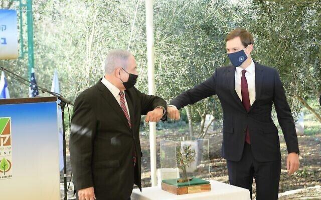 تصویر: بنیامین نتانیاهو نخست وزیر، چپ، و جراد کوشنر مشاور ارشد کاخ سفید، پس کاشت درخت زیتون در باغ ملل در اورشلیم، ۲۱ دسامبر ۲۰۲۰. (Amos Ben Gershom/ GPO)
