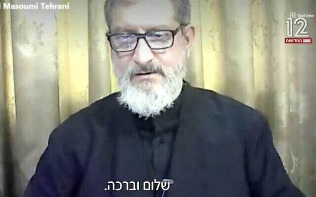 تصویر: عبدالحمید معصومی-تهران روحانی ایرانی حین گفتگو از ایران با «اوهاد هیمو»، از کانال ۱۲ اسرائیل، ۲۵ ژانویه ۲۰۲۱. (Channel 12 screenshot)