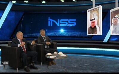 تصویر: گابی اشکنازی وزیر خارجه، دومی از چپ، حین گفتگو با همتاهای بحرینی و اماراتی خود در کنفرانس انستیتوی مطالعات امنیت ملی (INSS)، ۲۶ ژانویه ۲۰۲۱. (Courtesy of INSS)