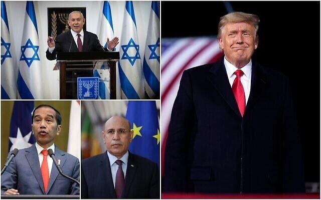 تصویر: از چپ براست، بنیامین نتانیاهو نخست وزیر، دونالد ترامپ رئیس جمهوری ایالات متحده، محمد ولد الغزوانی رئیس جمهور موریتانی، و جوکو ویدودو رئیس جمهور اندونزی. (Collage/AP)