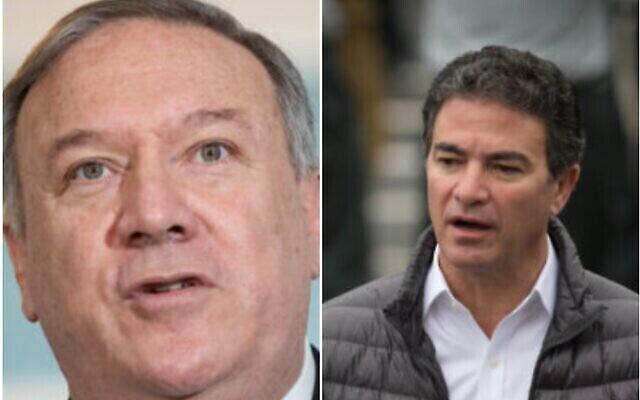 تصویر: در دو عکس بالا، مایک پمپئو وزیر خارجه ایالات متحده، چپ، و یوسی کوهن رئیس موساد دیده می شوند.  (Saul Loeb/Pool via AP and Miriam Alster/Flash90)