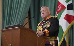 تصویر: شاه عبدالله دوم پادشاه اردن حین سخنرانی در گشایش جلسه غیر علنی مجلس نوزدهم، امّان، اردن، ۱۰ دسامبر ۲۰۲۰. (Yousef Allan/The Royal Hashemite Court via AP)