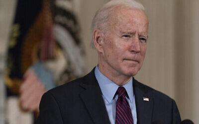 تصویر: پرزیدنت جو بایدن حین سخنرانی در مراسمی در اتاق پذیرایی دولتی کاخ سفید، واشنگتن، ۵ فوریه ۲۰۲۱.  (AP Photo/Alex Brandon)
